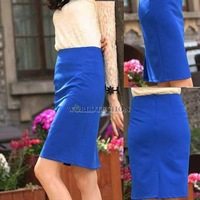 W7Tn Lady High Waist Pencil Tight Skirt Bag Hip Knee Length Chic Blue S