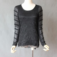 Card 8883 autumn and winter knitted top o-neck lace basic down long-sleeve shirt