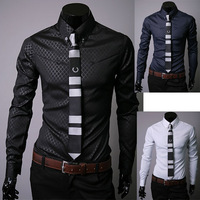 Spring and summer fabric plaid male long-sleeve shirt