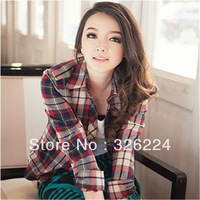 2013 New Autumn Korean Version Slim Ms. Long-Sleeved Casual Short Plaid Shirt Casual Dress Womans Blouses And t Shirts
