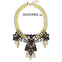 Christmas gifts Freeshopping statement necklace Luxury citron stone bubble bib necklaces false collar N