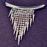 2013 NEW fashion European and American style retro exaggerated sparkling rhinestones rivets Leather Chokers necklace for women