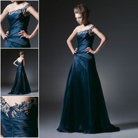2014  Fashion Catch Applique Beads One Shoulder Zipper Trailing Tower Skin Silk Ball Gowns Wholesale Free Shipping