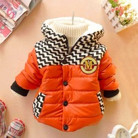 Hot-selling baby wadded jacket child cotton-padded jacket windproof hooded fleece thickening thermal cotton-padded jacket small