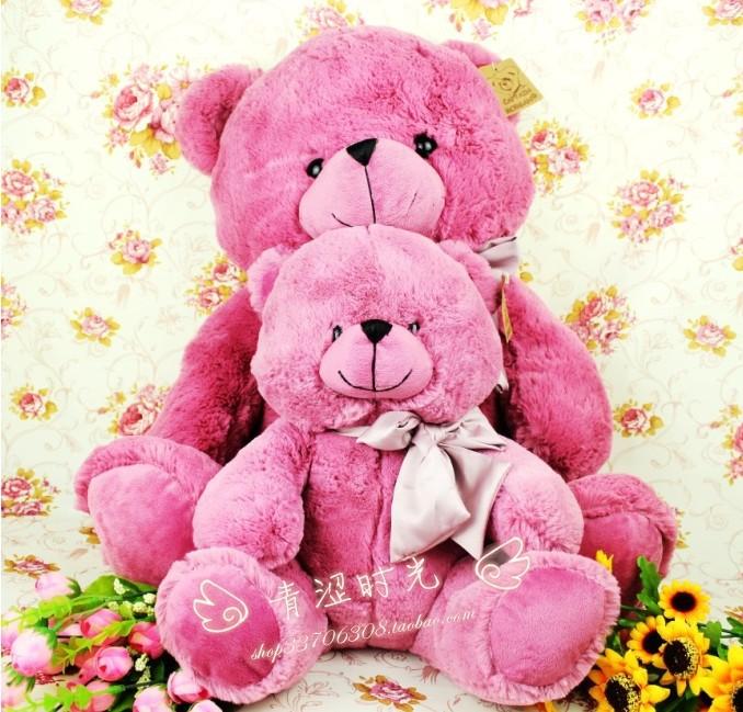 a pair Purple plush toy doll Christmas gift teddy bear teddy bear lovers(China (Mainland))