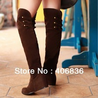 Free shipping! Long boots med heel Fashion dress casual handsome style for lady round head rivet boots PU big size 34~43