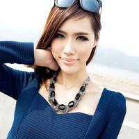Vintage female short design black gem multi-layer chain vintage necklace