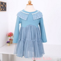 New,girls princess dress,children autumn/winter casual dress,a-line,lace collar,1-6 yrs,5 pcs / lot,wholesale kids clothing,0424