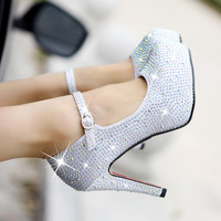 2014 new Rhinestone wedding shoes star high-heeled  platform white crystal genuine leather  women's shoes bridal women's pumps