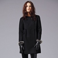 *Free Shipping* Lightmindedness patchwork cute involucres style wool overcoat d00397