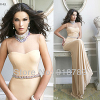 2014 Custom Made Dress Floor Length Chiffon Halter Design Crystals Stones Sexy Open Back Long Evening Dress Party Dress