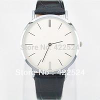 Men's / ladies watch black leather couple watch Very thin dial dress Quartz wrist watch Noble Elegant clock Famous Brand