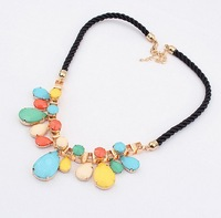 Wholesale 1PC  New Design 2013 Fashion Korean Style Elegant Drop Water Pendant Joker Knitting Wool Short Necklace JN47