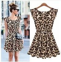 Free shipping!!!hot !!!!!!2013 fashion leisure leopard grain dress M, L, XL
