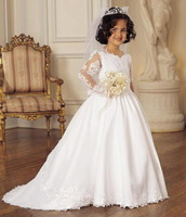 flower girls dresses long sleeves kids dress for weddings