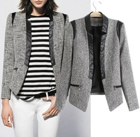 2013 European and American women's new fall fight skin coarse woolen flower Slim small suit jacket