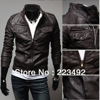 Free shipping!2013 Autumn and winter new Korean men's fashion Slim leather jacket/leisure PU leather motorcycle jacket/Big Size!