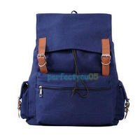 Girl Canvas Backpack Casual Satchel Decent Shoulder Bag Magnet Button     PY5#