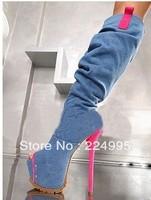 Sexy pink heel platform fashion denim boots women high heel jean long summer boots open toe cool knee boots