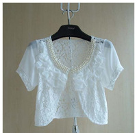 New 2014 Spring - Summer Korean version Beaded modified sweet Fungus flower Lace Short Small shawl tops for women