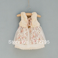 Female baby autumn and winter tank dress girls floral lace ribbon close faux furone-piece dress
