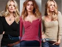 Victoria  women V neck pullover slim basic shirt sweater autumn and winter spring t shirt fashion