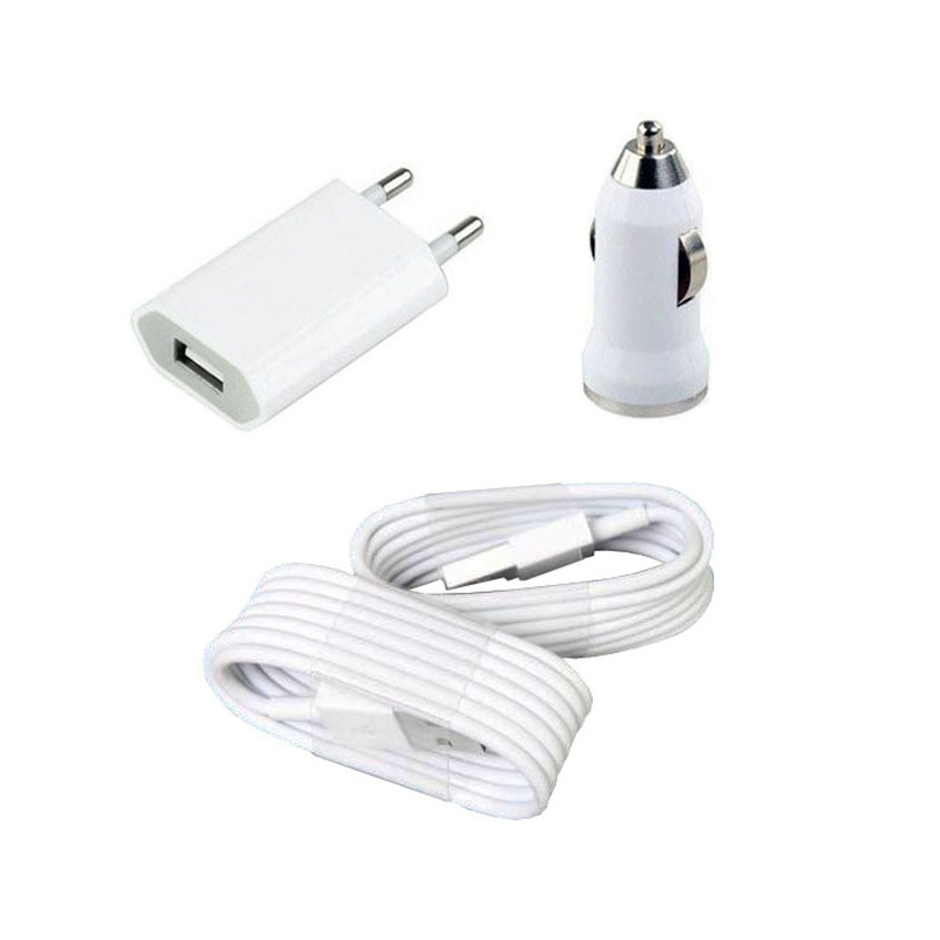 Home EU AC Wall Charger + car charger + 2 X USB cable for iPhone 5 5S ipad 4 XC1024(China (Mainland))