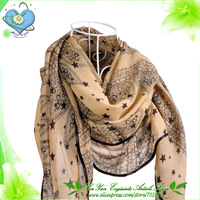 Free Shipping 2013 New Arrival Women's Fashion Velvet Chiffon With Star Pattern Shawl / Pashmina / Wrap / Scarves