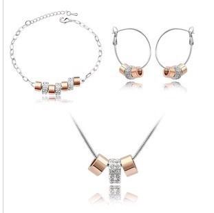 Колье-цепь CS24 Fashion A string of happy memories rhinestone Earrings Necklace Bracelet set B26.5