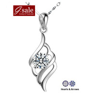GS Brand XL-35 free shipping 2014 for women 925 sterling silver Angel Wing Featehr AAA Zircon platinum plated pendant necklaces