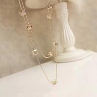 Promotion! Wholesale!  Fashion ladies jewelry luxury multi-layer handmade rhinestone beaded long necklace SN422