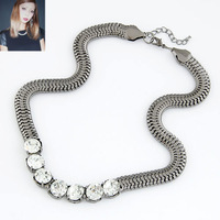 Free Shipping!Hot Sell Vintage Bib Chokers Necklaces  Metal Gem Necklace Snake Chain For Women Gold & Silver Colors