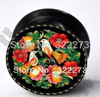 [Min. Order $20]Vintage Flowers Lovebirds Acrylic Screw-Fit Ear Plug Tunnel Birds Red body jewelry  MJEPG3696