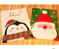 New 2013  Penguin Santa Claus flat pocket gift bag West/cake/biscuit/cookie/pastry bakery packaging bag 14 * 20cm 100pcs
