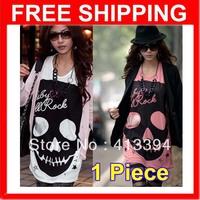 Hot Lady Popular Loose Japanese Punk Skull Pattern Sexy Fun Tops Shirt