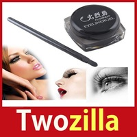 [Twozilla] Black Waterproof Eye Liner Eyeliner Gel Makeup Cosmetic + Brush Hot