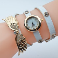New arrived High quality Multi-Colored leather / Gold plating / Angel wings Set drill fashion new women watch Xu68