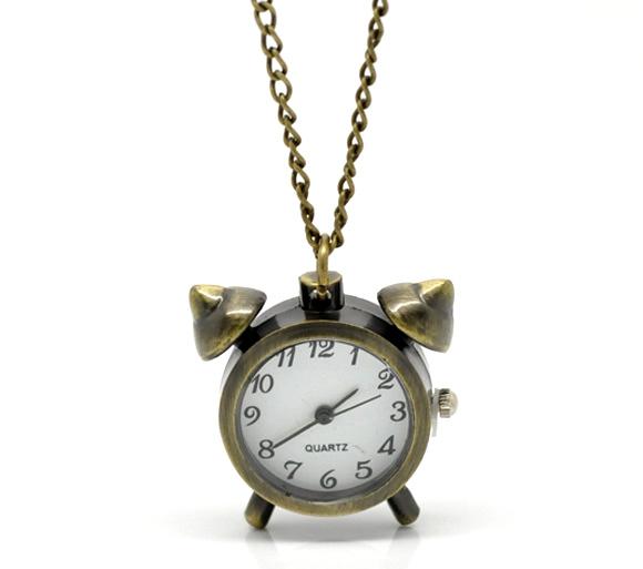 Bronze tone font b necklace b font quartz font b alarm b font clock