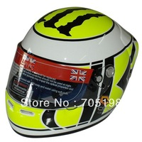 Cardin motorcycle helmet full helmet F-1a-meter glass flower white word yellow Brand  free shipping