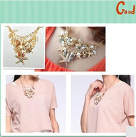 Min.order $15)2013 Fashion shell starfish pendant necklaces for women,Gold plated chokers necklace chain,Statement necklace H017
