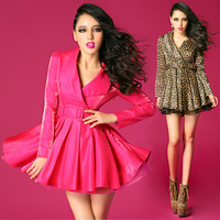 Bossy lady2013 fashion quality turn-down collar slim waist big skirt one-piece dress trench type
