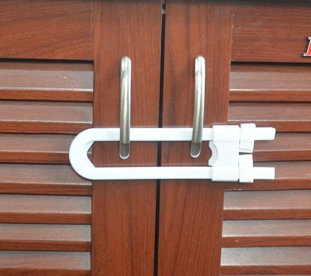 U safety lock kitchen cabinet door lock baby safety lock child protection furniture safety lock 100pcs dhl/fedex free shippment(China (Mainland))