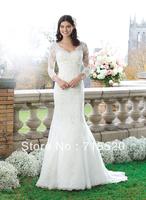 2014everlasting love 2014 Design EF1386 Modest V Neck Appliques Vintage Mermaid Long Sleeve White Lace Wedding Dress