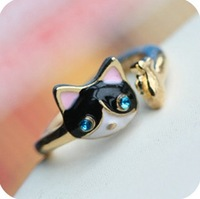 Min. order is $9 (can mix style)Small cat dollarfish adjust diamond personality openings oil kitten RING JZ132