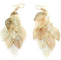Min. order is $9 (can mix style) Fashion gold cutout leaves metal bling earrings stud earring EH249