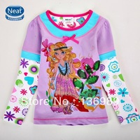 NEAT 2013 new free shipping t-shirts baby girls cartoon long sleeve lace embroidery children clothing kids wear 1-6Y L269#