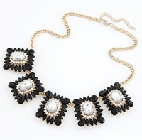Min. order is $9 (can mix style) Fashion neon color square gem stereo elegant design short necklace XL451
