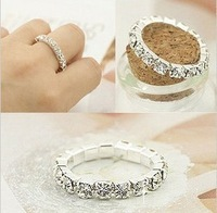 Min. order is $9 (can mix style) Bright silver full shine rhinestone ring brief ring elastic belt JZ125