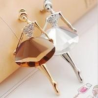 Min. order is $9 (can mix style) ballet girl gem elegant brooch XZ014