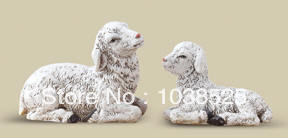 Wooden Christmas craft gift,Set of Seated Sheep, Religious Decoration Statue Christmas Decor, Free Shipping(China (Mainland))